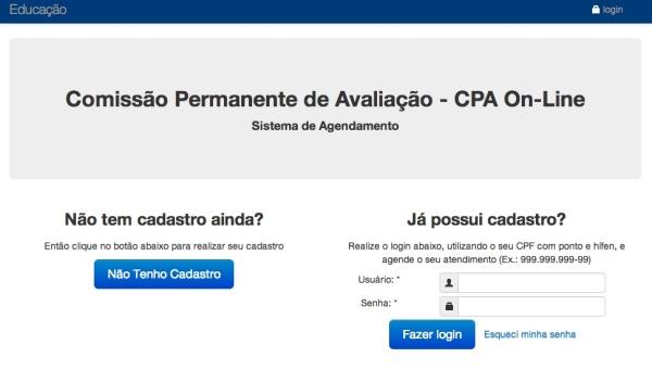 Site para inscrição online do Cpa